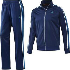 Adidas Mens Night Blue White Essentials 3 Stripe PES TS Tracksuit