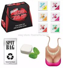 Blow Job Kit Spit Bag Mint Pearl Necklace Bib ID Lube Bride to Be Hen Night Gift