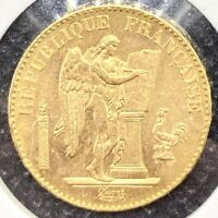 "1898-A France Gold 20 Francs ""The Lucky Angel"" Brilliant Uncirculated (BU) Coin!"
