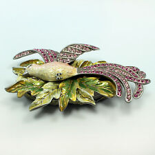 Bejeweled bird of paradise trinket box, Faberge  figurine, with crystals in rose