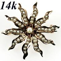 Antique Edwardian 14k Gold Starburst Brooch, Enhancer, Seed Pearls, Mourning
