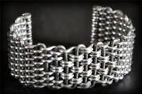 "Unisex 2.55""  Vtg Twisted Woven Wire Cuff Silver Tone Heavy Statement Bracelet"
