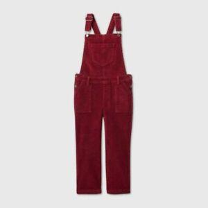 Cat & Jack Girls Size XS 4/5 Corduroy Jumpsuit Overalls Burgundy