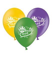"""Mardi Gras Mask & Beads - Mix 3 Assorted Printed 12"""" Latex Balloons pack of 12"""