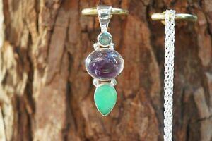 Gemstone Pendant London Topaz Amethyst Chrysoprase Sterling 925 Silver Chain