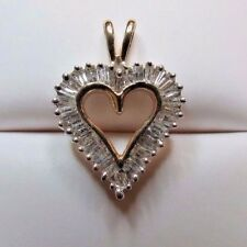 DIAMOND HEART PENDANT 14KT YELLOW GOLD 32 BAGUETTES