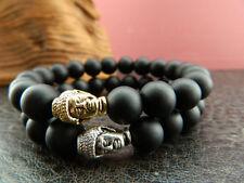 Buddha Head Bracelet.Beaded Black Agate. Mens & Womens Mala 10mm Beads Hinduism