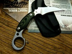Karambit Claw Knife Hunting Wild Survival Combat Tactical D2 Steel Mica Handle S