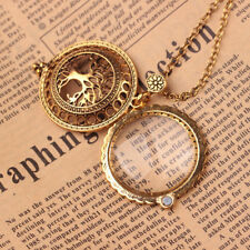 Fashion Women Magnifying Glass Reading Tree Life Pendant Chain Necklace Portable