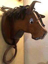 Vintage Handcrafted Wooden Horse Head & Leather Mane Ears Wall Hanger W/ Hoop