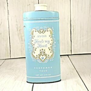 AVON  HERE's MY  HEART Perfumed Talc Vintage  Tin Good Housekeeping Seal Blue