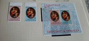 1973 Trinidad and Tobago Christmas Stamps. Miniature Sheet and single  stamps.