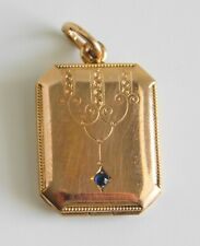 Gorgeous Antique Victorian SL Gold Filled Engraved Watch Fob Locket Blue Stone