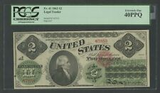 FR41 $2 1862 LEGAL TENDER PCGS 40 PPQ CHOICE XF LARGE MARGINS WLM8369