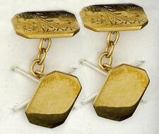 Gemelos Oro Amarillo Macizo Contraste hecho a Mano Birmingham Jewellery Quarter