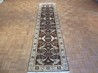 3 X 10 Hand Knotted Brown Runner Oushak Oriental Rug Vegetable Dyes G1182