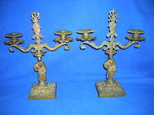 Pair of matching Victorian bronze candelabras, acanthus leaf base, ca. 1870