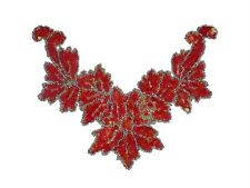 Sequin Bead Applique Belly Dance Motif Necklace Red