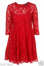 Topshop Red Lace Peter Pan Collar Mini Tunic Shift Vtg Tea Party Dress 10 38 US6