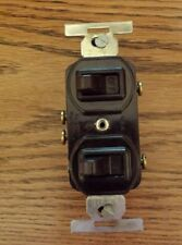 Eagle Brown Double Wall Light Switch Duplex Toggle 110A 125V 5A-250V NOS