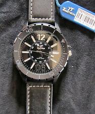TimeTech * Rund * Herren Quarz Uhr * 3 ATM * Lederband Schwarz