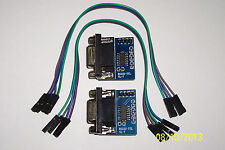 2 PCS , MAX 3232 RS232 TO TTL CONVERTER MODULE WITH DB9 CONNECTOR , 3.3-5.0 VDC