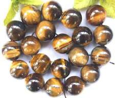 round 20mm yellow Tiger eye gemstone Beads 15""