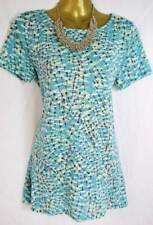 Per Una turquoise blue dandelion print long t-shirt top jersey M&S 8 12 20