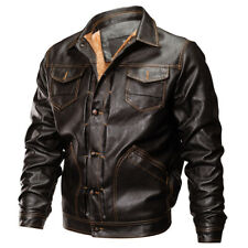 Mens Thick Leather Jacket Bomber Jacket Pilot  Army Coat Fleece Jackets