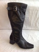 Marco Tozzi Black Knee High Leather Boots Size 38