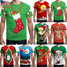 Men's Short Sleeve Round Neck T-shirt Printed Funny Tops Christmas Casual Blouse