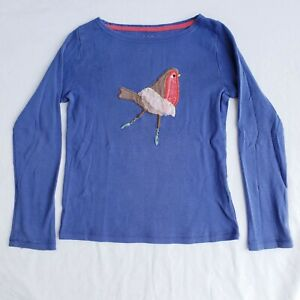 Mini Boden Girls' Blue Long-sleeve with Ballerina Robin Appliqué, sz 7-8y