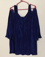 Catherines Size 2X 22/24W Royal Blue Lace Cold Shoulder Crinkle Tunic Blouse