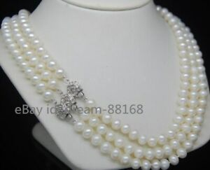 Wholesale Natural 3 Strand 7-8MM White Akoya Cultured Pearl Choker Necklace18''
