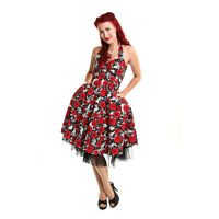 Rockabella Roses Floral 1950s Rockabilly Retro Vintage Swing Flared Dress
