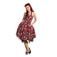 Rockabella Roses Floral 1950s Rockabilly Retro Vintage Swing Flared Dress