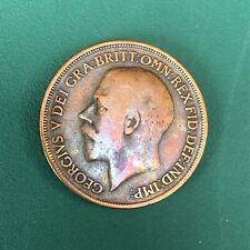 1914- GREAT BRITIAN GEORGIVS V .ONE PENNY RAINBOW TONE PURPLE COLORS,