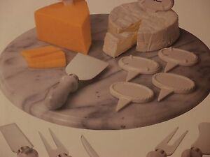 12 INCHES MARBLE LAZY SUSAN - GRAY & WHITE - 14 PIECE CHEESE SET