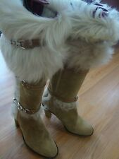 COACH JESSICA AUTHENTIC FUR TAN SUEDE WOMENS BOOTS 6.5 B $680 MADE IN ITALY