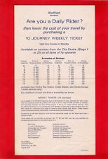 Bus Information Leaflet ~ Sheffield Transport - 10 Journey Weekly Tickets - 1971