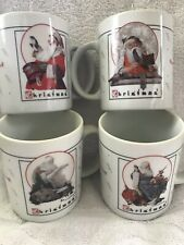 Set 4 Norman Rockwell 1992 Christmas Mugs Saturday Evening Post Beautiful New