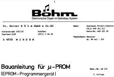 BOHM u-PROM Schematic Diagram Service Manual Schaltplan Techniques