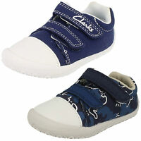 Clarks Boys Little Chap Navy Or Navy Combi Canvas Cruisers