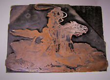 Vintage Copper Wood Printers Stamp Block American Cowboy Riding Horse w/ Lasso