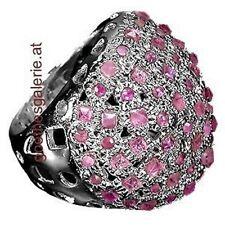 Ring 925 Silber Rubine Groß Pave Cocktailring Damenring Edelsteine Handgemacht Unikate & Goldschmiedearbeiten Ringe