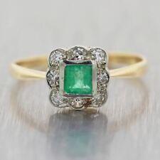 1930's Antique Art Deco 14k Yellow Gold 0.35ctw Diamond & Emerald Ring
