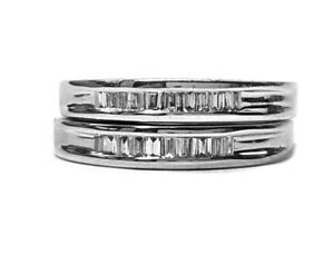 Diamond Wedding Bands, 2 Rings. Channel Set 30pts. t.w. in 14kt. White Gold