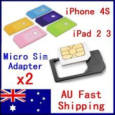2 Pcs Micro SIM to SIM Card Adapter for iPhone 4 4s iPad 2 3 Android MicroSIM