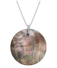 """Tahitian Mother-of-Pearl &Diamond Accent 18"""" Pendant Necklace In Sterling Silver"""
