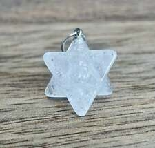 Clear Crystal Quartz Merkaba Pendant Stone 8 Point Star Rock Natural Gemstone